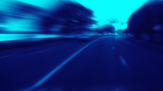 Timelapse blurred driving. Loopable. Blue. video