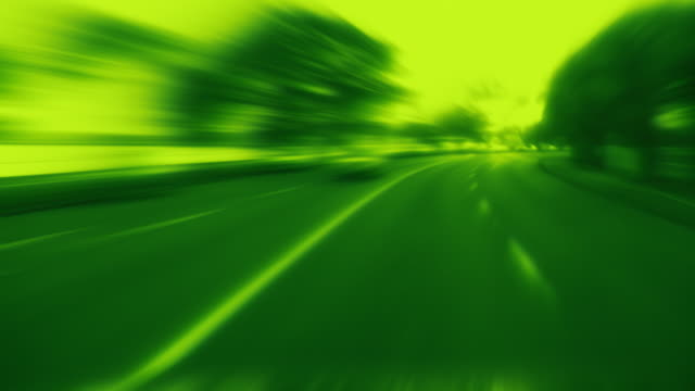 Timelapse blurred driving. Loopable. Green. video