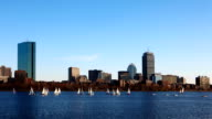 Timelapse Boston city center with sailboats video