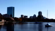 Timelapse Boston, Massachusetts with boats in foreground video