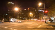 Timelapse Boston street at night video