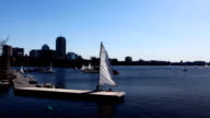 Timelapse Boston with boats in foreground video