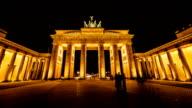 HD Timelapse: Brandenburg Gate at night, Berlin video