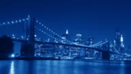Timelapse: Brooklyn Bridge at Night; blue-filter; 2x-composition video