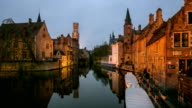 HD time-lapse: Bruges Historic old town and Canal Belgium sunset video