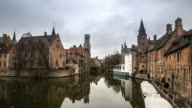 4K time-lapse: Bruges Historic old town and Canal Belgium sunset video