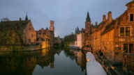Time-lapse: Bruges Historic old town and Canal Belgium sunset video