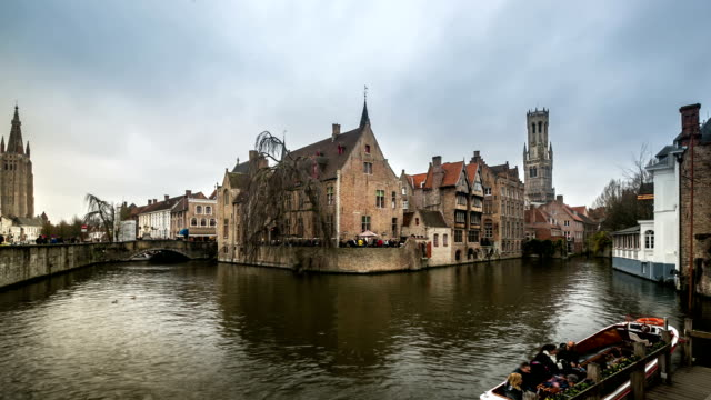 HD time-lapse: Bruges Historic old town and Canal Belgium video