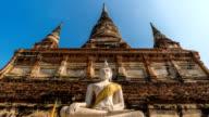 HD Timelapse : Buddha statue at Wat Yai Chai Mongkol in Ayutthaya, Thailand video