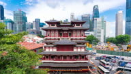4K Timelapse: Buddha Tooth Relic Temple and Chinatown, Singapore cityscape video