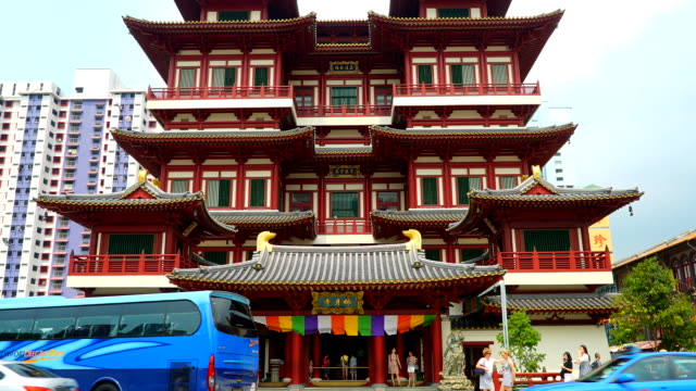 Time-lapse : Buddha tooth temple at singapore video