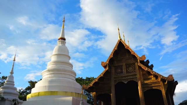 Time-lapse: Buddhist Temple with Blue Sky and Cloudscape video