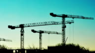 time-lapse building site silhouette video