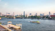 HD Time-lapse: Busy transportation in Chaophraya River Bandkok video
