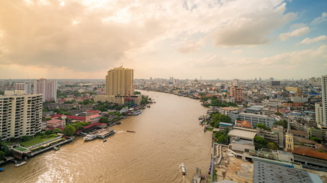 Time-lapse Busy transportation in Chaophraya River with bangkok Skyline video