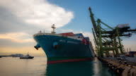 4K time-lapse: Cargo ship depart from Singapore Shipyard Port Terminal video