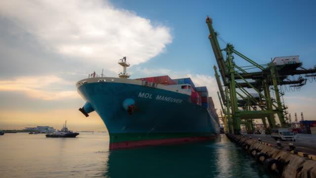 4K time-lapse: Cargo ship depart from Singapore Shipyard Port Terminal video