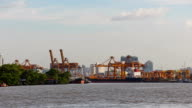 Timelapse Chao Phraya River view overlooking the passenger ships video