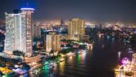 Timelapse Chaopraya river view, Bangkok, Thailand. Night scene video
