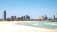 HD Time-lapse: Chicago Skyline along Michigan Lake beach USA video
