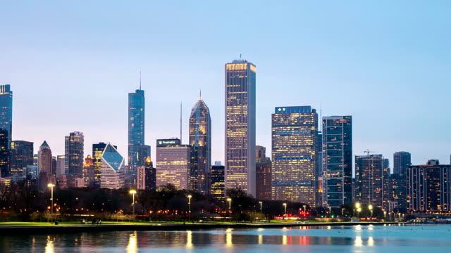 HD time-lapse: Chicago Skyline Cityscape sunset USA video