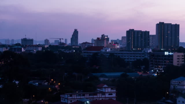 Time-lapse City day to night pattaya in thailand 4k footage video
