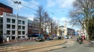 HD Time-lapse: City Pedestrian at Cityhall Saint Egidio Church Amsterdam video