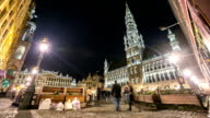 HD Time-lapse: City Pedestrian at Grand Place Brussels Belgium night video