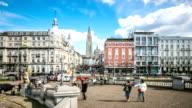 HD Time-lapse: City Pedestrian crowded Antwerp Belgium video