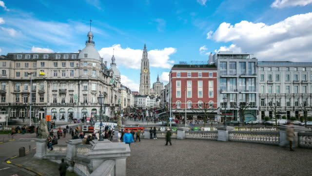 4K Time-lapse: City Pedestrian crowded Antwerp Belgium video