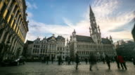 Time-lapse: City Town hall Grand Place Brussels Belgium sunset video