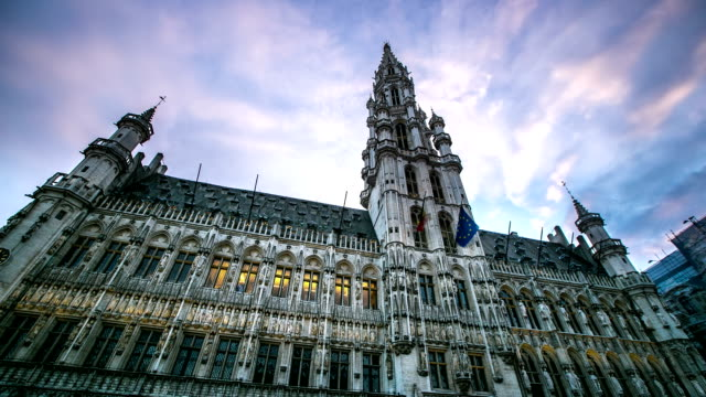 HD Time-lapse: City Town hall Grand Place Brussels Belgium video