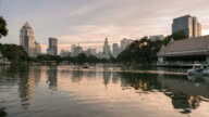 4K Time-lapse; city view of bangkok at sunset from Lumpini Park video