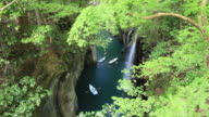 Time-lapse clip for Takachiho Gorge and moving boats, Miyazaki, Japan video