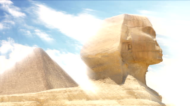 Timelapse. Clouds over the pyramid of Cheops and Sphinx. Giza Egypt. video