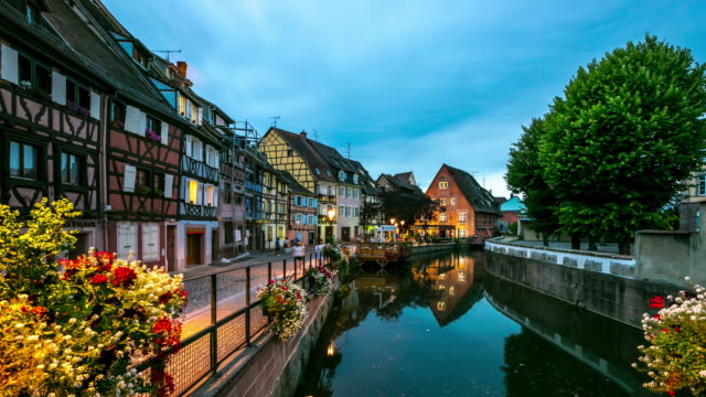 4K Time-lapse: Colmar Village Cityscape Alsace France at dusk video