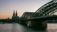 4K Time-lapse: Cologne Cathedral and Hohenzollern Bridge at dusk Germany video