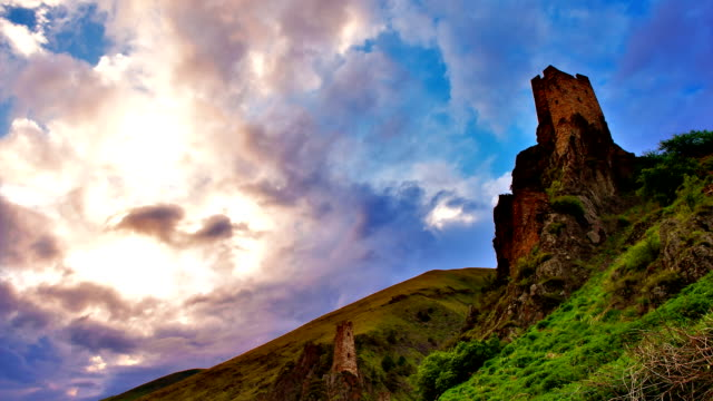 'TimeLapse': Colorful Sunset and Castle in the Mountains. video