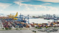 4K Time-lapse: Container Cargo freight ship video
