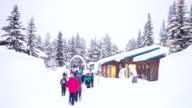 HD Time-lapse: Crowd at Winter Camping cabin video
