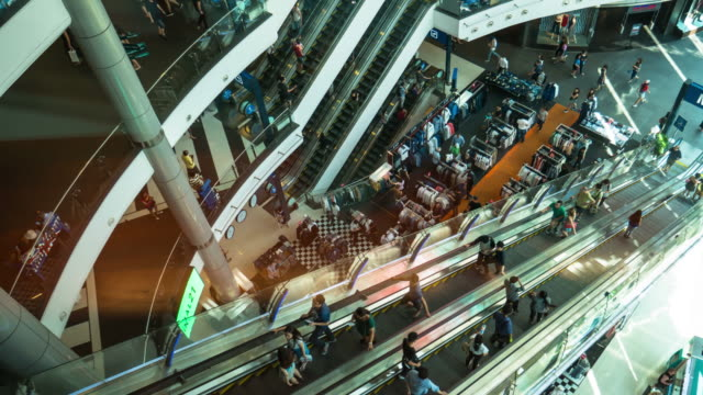 Time-lapse,  Crowd on the escalator in shopping mall video