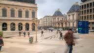 time-lapse: Crowded Pedestrian at Lyon Opera Hotel de Ville video