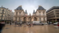time-lapse: Crowded Pedestrian at Lyon Opera Hotel de Ville video