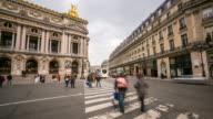 4K time-lapse: Crowded Pedestrian at Opera Paris video