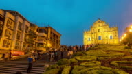 Time-lapse crowded pedestrian at Ruins of St. Paul's Cathedral Macau video