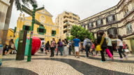 Time-lapse crowded pedestrian at Senado Square Macau, China video