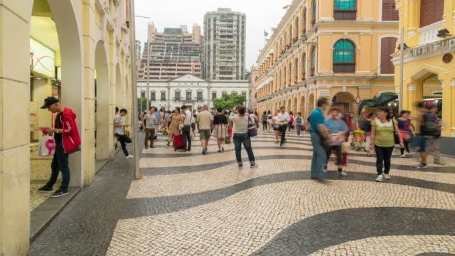 Time-lapse crowded pedestrian at Senado Square Macau, China video
