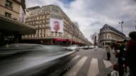 time-lapse: Crowded Pedestrian Haussmann Boulevard Opera Lafayette Paris video