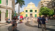 Time-lapse crowded pedestrian Saint Dominic's Church Senado Square Macau, China video