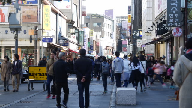 Time-lapse : Crowded people at insa-dong market in Seoul city Korea video
